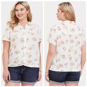 TORRID Ivory Floral Crepe Knot Front Button Blouse